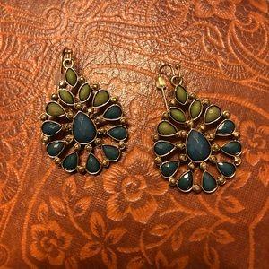 Teal and Green Bohemian Earrings